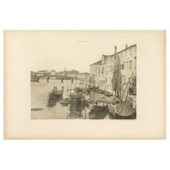 Pl. 60 Antique Print of a Canal in the Giudecca Island of Venice 'circa 1890'