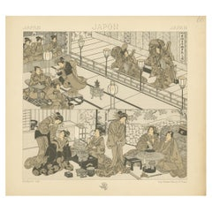 Pl. 60 Antique Print of Japanese Scenes by Racinet, 'circa 1880'