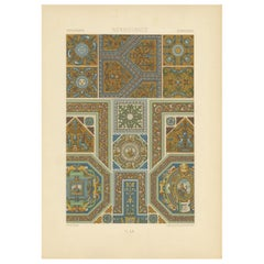 Pl. 60 Antique Print of Renaissance Ornaments by Racinet, circa 1890