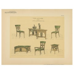 Pl 60 Antique Print of Tables and Chairs by Kramer, 'circa 1910'