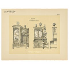 Pl. 66 Antique Print of Library Furniture by Kramer, circa 1910