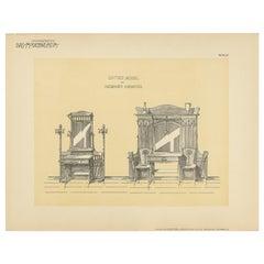 Pl. 67 Antique Print of Entryway Furniture by Kramer, circa 1910