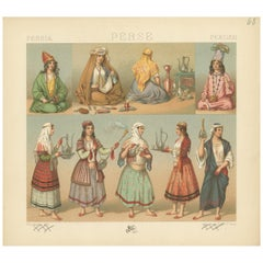 Pl. 68 Antique Print of Persian Costumes by Racinet, 'circa 1880'