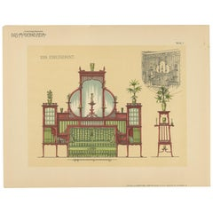 Pl. 7 Antique Print of a Sofa and Furniture by Kramer, circa 1910