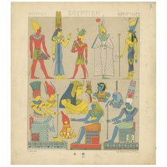 Pl. 7 Antique Print of Egyptian Outfits by Racinet, 'circa 1880'