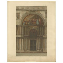 Pl. 7 Antique Print of the Portal of San Clemente of the Basilica of San Marco