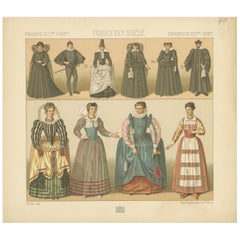 Pl. 70 Antique Print of French 16th Century Costumes by Racinet, circa 1880