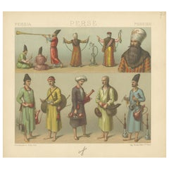 Pl. 70 Antique Print of Persian Costumes by Racinet, 'circa 1880'