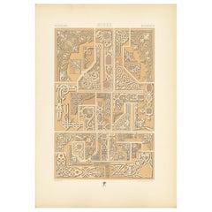 Pl. 70 Antique Print of Russian Corner Motifs from Metalwork Design by Racinet