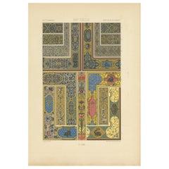 Pl. 70 Antique Print of XVIth Century Ornaments by Racinet, circa 1890