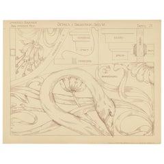 Pl. 71 Antique Print of Furniture Details by Kramer, circa 1910