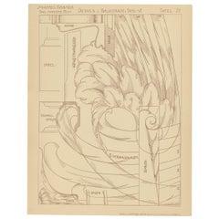 Pl 72 Antique Print of Furniture Details by Kramer, 'circa 1910'