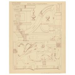 Pl 73 Antique Print of Furniture Details by Kramer, 'circa 1910'