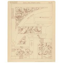 Pl. 74 Antique Print of Furniture Details by Kramer, circa 1910