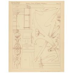 Pl. 75 Antique Print of Furniture Details by Kramer, circa 1910