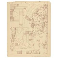 Pl 76 Antique Print of Furniture Details by Kramer, 'circa 1910'