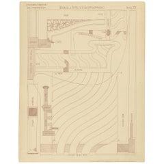 Pl. 77 Antique Print of Furniture Details by Kramer, circa 1910