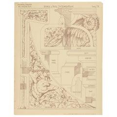 Pl. 78 Antique Print of Furniture Details by Kramer, circa 1910