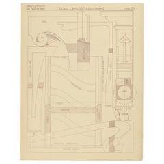 Pl. 79 Antique Print of Furniture Details by Kramer, circa 1910