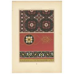 Pl. 79 Antique Print of Renaissance Carpet Designs by Racinet, circa1890
