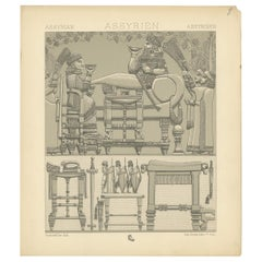 Pl. 8 Antique Print of Assyrian Furniture by Racinet, 'circa 1880'