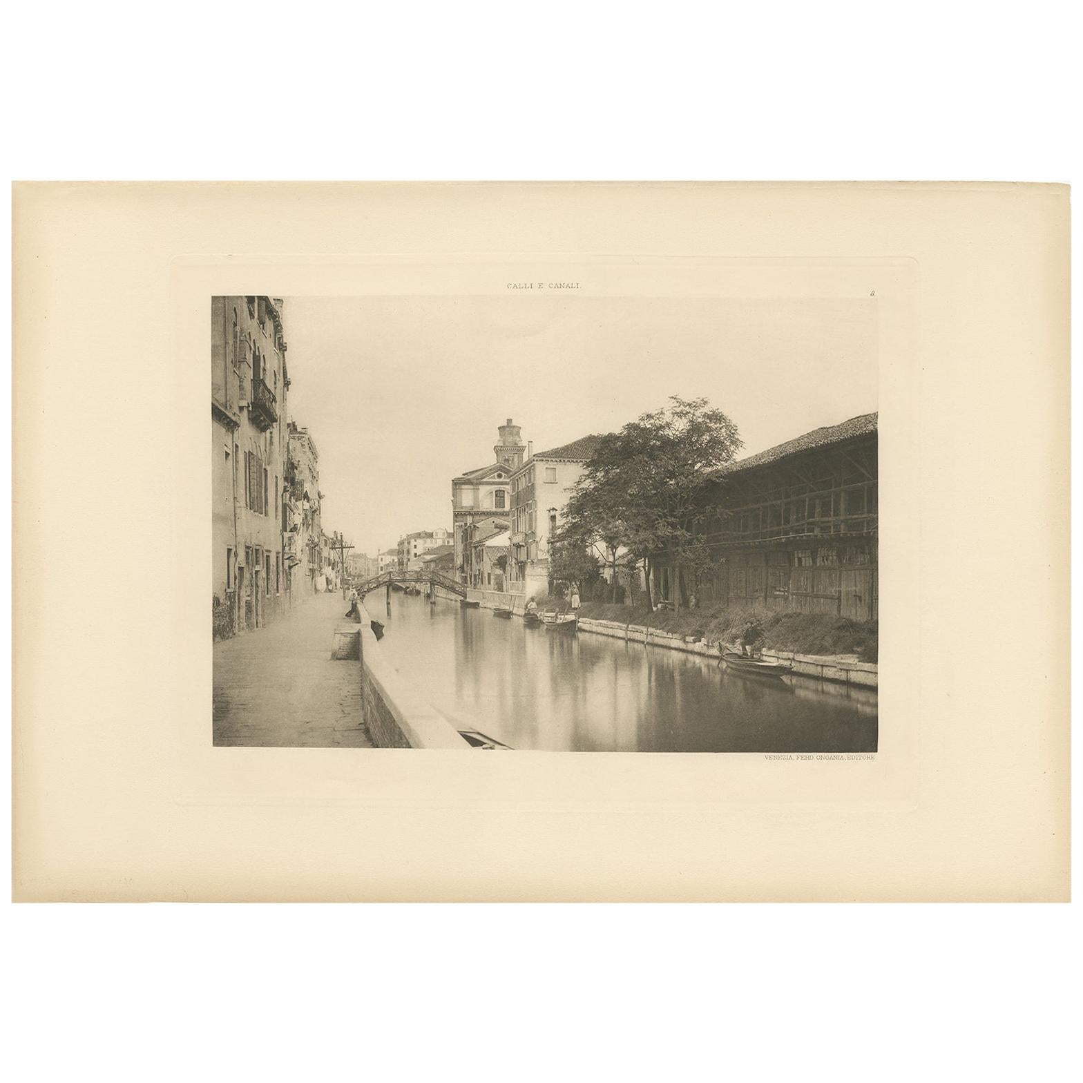 Pl. 8 Antique Print of S. Jerome's Canal in Venice, 'circa 1890'
