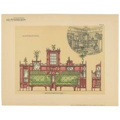 Pl. 8 Antique Print of Salon Furniture by Kramer 'circa 1910'