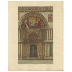 Pl. 8 Antique Print of the Portal of San Pietro of the Basilica of San Marco