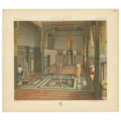 Pl. 80 Antique Print of African Interior by Racinet, 'circa 1880'