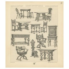 Pl. 80 Antique Print of European XVIth-XVIIth Furniture by Racinet, circa 1880