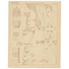Pl. 80 Antique Print of Furniture Details by Kramer, circa 1910