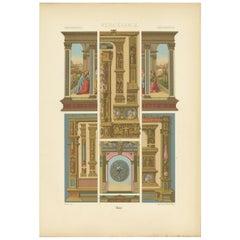 Pl. 80 Antique Print of Renaissance Architectural &Metalwork by Racinet 'c.1890'