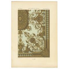 Pl. 80 Antique Print of XVIIth Century Ornaments by Racinet (c.1890)