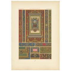 Pl. 83 Antique Print of Renaissance Jewelry Designs by Racinet, circa 1890