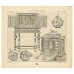 Pl 85 Antique Print of European 17th Century Furniture by Racinet