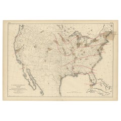 Pl. 9 Antique Map of the Air Movement of the United States by Walker '1874'