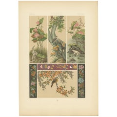 Pl. 9 Antique Print of Chinese Paintings, Embroideries by Racinet, 'circa 1890'