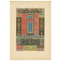 Pl. 9 Antique Print of Greek-Roman Ornaments by Racinet, circa 1890