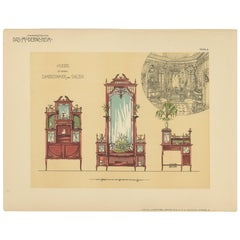 Pl. 9 Antique Print of Ladies Room and Salon Furniture by Kramer, circa 1910
