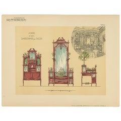 Pl. 9 Antique Print of Ladies Room and Salon Furniture by Kramer, circa 1910