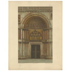 Pl. 9 Antique Print of the Portal of Sant'Alipio of the Basilica of San Marco
