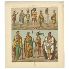 Pl. 90 Antique Print of African Costumes Racinet, 'circa 1880'