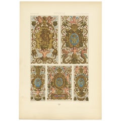 Pl. 92 Antique Print of 17th Century Decorative Paintings by Racinet, circa 1890