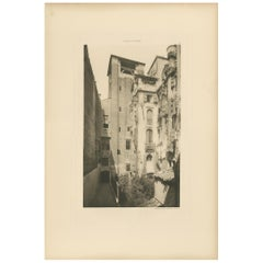 Pl. 92 Antique Print of the Bell-Tower of San Salvador in Venice 'circa 1890'