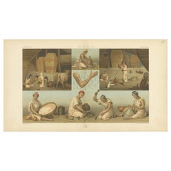 Pl. 93 Antique Print of African Labor Scenes Racinet, 'circa 1880'