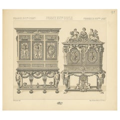 Pl. 93 Antique Print of French 17th Century Furniture by Racinet, circa 1880