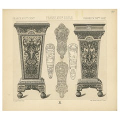 Pl. 94 Antique Print of French 17th Century Decoration by Racinet, circa 1880
