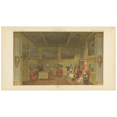 Pl 99 Antique Print of French 17th Century Office by Racinet, 'circa 1880'