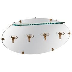 P.L. Colli Golden Iron Hangers Glass Shelf Oval Mirror Coat Rack, Italy, 1950s