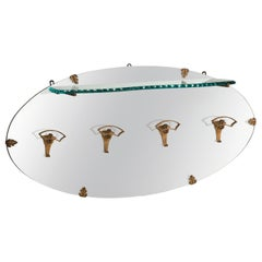 P.L. Colli Golden Iron Hangers Glass Shelf Oval Mirror Coat Rack, Italy, 1950s